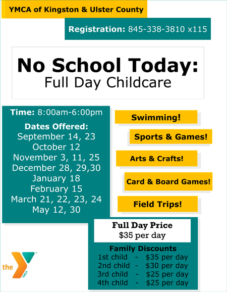 YMCA of Kingston & Ulster County No School Full Day Childcare program, 2015-2016